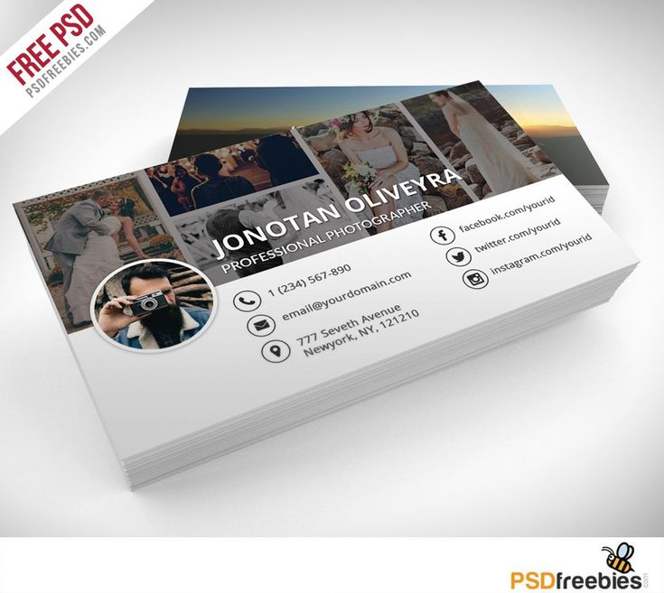 Download Professional Photographer Business Card PSD Template Freebie. Simple, c…
