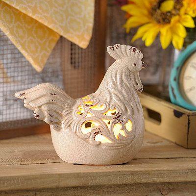 Cream Ceramic Rooster Night Light
