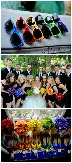 I loved Andrew and Hali's wedding pictures so much. The girls with different coloured flowers and shoes was amazing, and the guys had coordinating socks and sunglasses, such a cute idea :)
