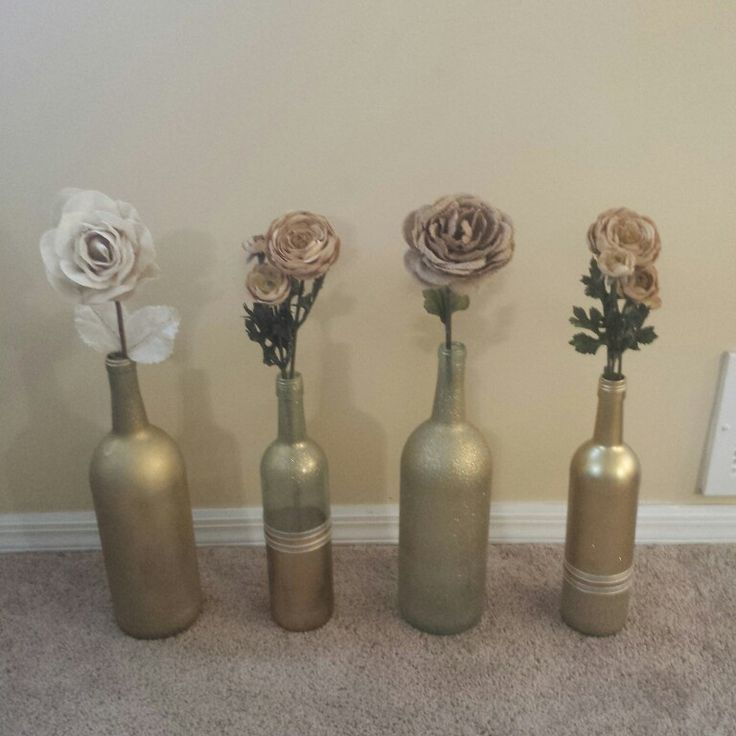 Wine Bottle Crafts Gold And Glitter Spray Paint And Burlap Roses Cute Home Decor Crafts