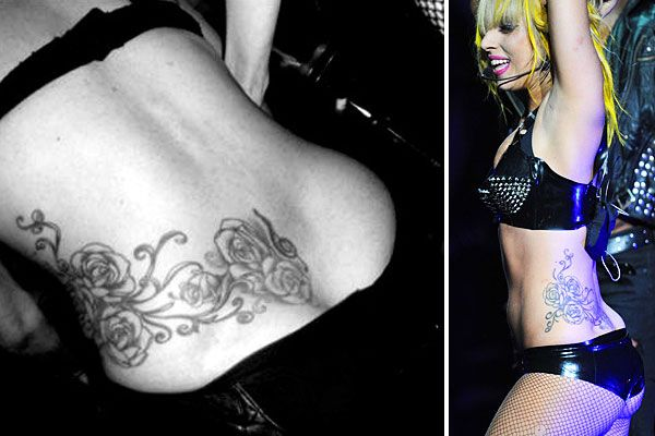 "Lady Gaga has a large tattoo of roses that sprawls from her lower back to the left side of her waist. This tattoo was done by famous tattoo artist Kat Von D back in 2008 and it was filmed for the show LA Ink. Lady Gaga had some regrets about her treble clef tattoo and its' ""tramp stamp"" location, so she worked it into her side piece. ""Literally this entire side piece I have is a compensation for that one tattoo,"" she says."