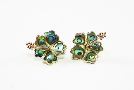 Cabochon Natural Abalone Shell Gold Tone Stud Clip On Earrings
