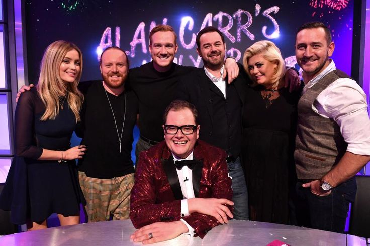 What time does Alan Carrs New Year Specstacular start and who are his celebrity guests?