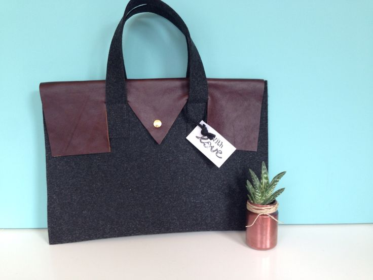 Leather and felt laptop bag!