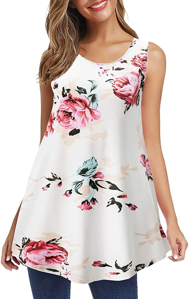 New Ladies Sleeveless Sequin Floral Print Women Flared Swing Capped Tops