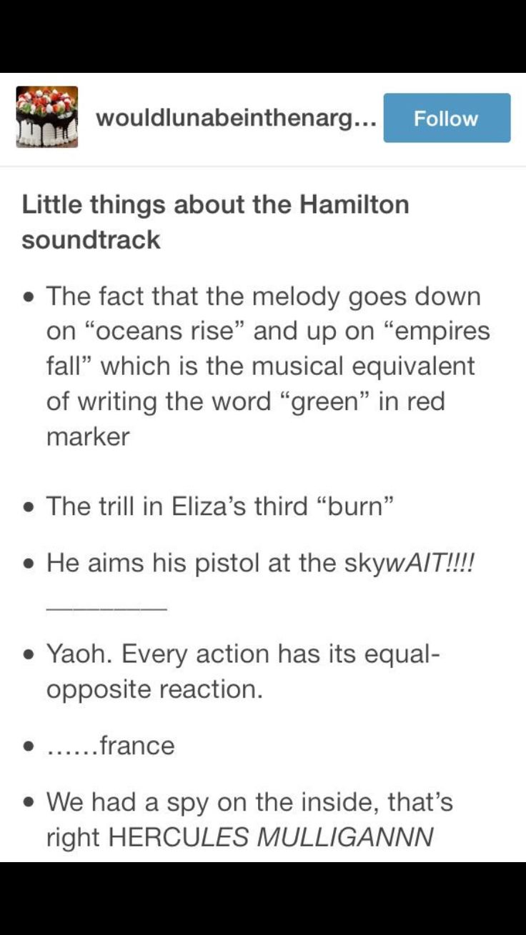 """Hamilton...actually the first time that the whole """"rise in pitch on a lyric that means low and then opposite"""" was in Spoonful of Sugar in Mary Poppins, written by Roger and Hammerstein"""