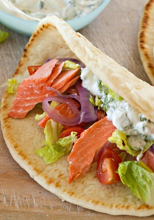 Tuck grilled salmon, lettuce and onion inside a pita and pair with a yogurt dip for a refreshing and easy dinner!