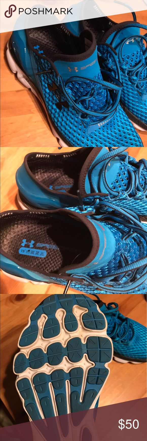 Under Armour speedform Gemini running shoe Under Armour speed firm Gemini running shoe in light blue and black. Size men's 8.5. Used but Barely, like new. See pictures. Under Armour Shoes Sneakers