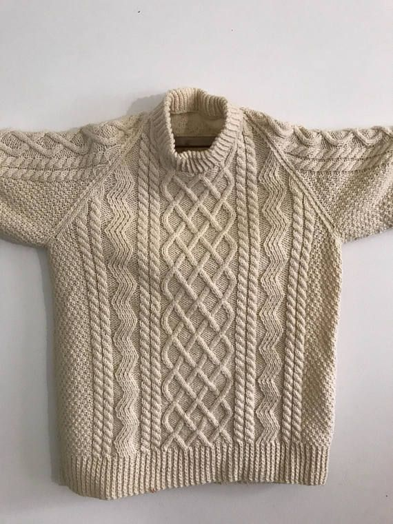 Ierse Trui.Vintage Irish Fisherman Sweater Cream Cable Knit Sweater Heavy
