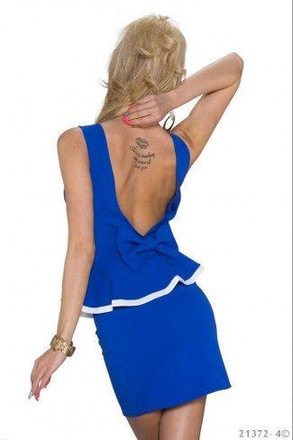 Μίνι φόρεμα με βολάν - Μπλε Ρουαγιάλ