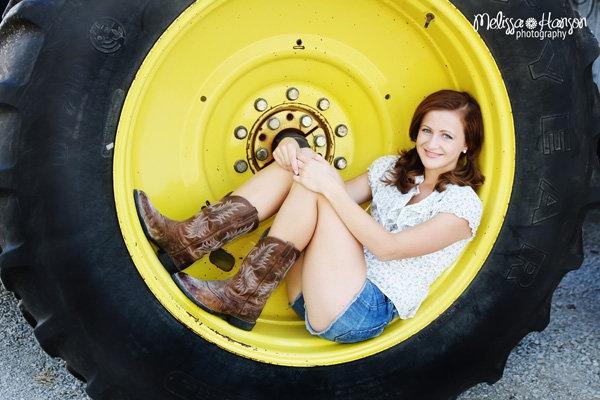 cute senior picture idea: tractor wheel
