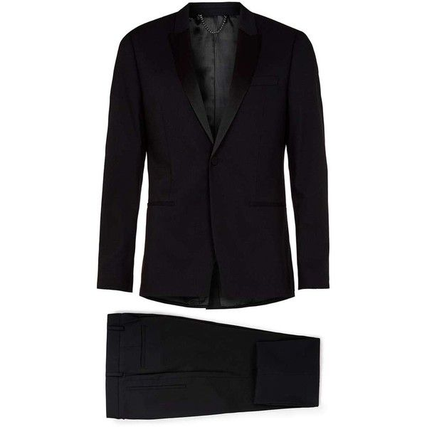 Black Skinny Fit Tuxedo Three Piece Suit - Topman ❤ liked on Polyvore featuring men's fashion, men's clothing, men's suits, mens tuxedo suit, topman mens suits, mens skinny suits and mens skinny fit suits