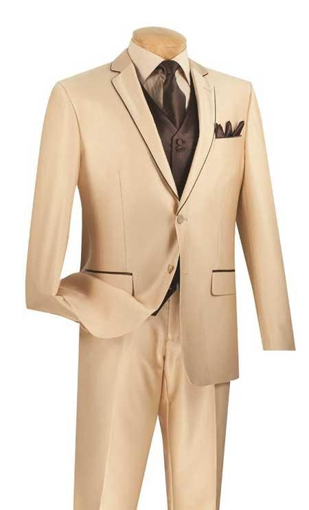 Mens Tan With Brown Trim Suit. We have collection of Suit with unique design, color and brands. #SuitForMen