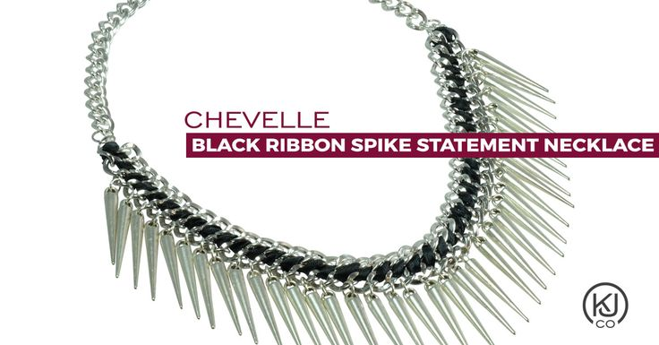 Chevelle – Black Ribbon Spike Statement Necklace – Make a bold outfit even bolder with this silver tone double curb link chain and spike statement necklace with black ribbon. Take a simple top and make it urban chic or wear it as the perfect accessory to your blazer and tee. However, you choose to wear it you're sure to make a statement with its adjustable length to suit most necklines.