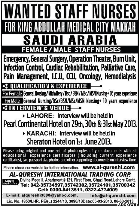 staff nurses jobs in saudi arabia
