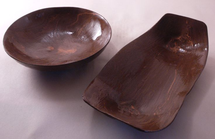 Two bowls set - in the shape of boat and usual, brown bowl, handmade bowl, ceramic bowl, handmade pottery, for olives, for fruit by CeramicsNaturalist on Etsy