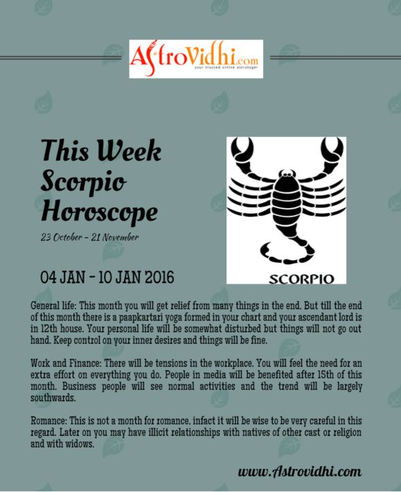 Get your Scorpio Weekly horoscope. Check your Scorpio weekly love, career & business horoscope & relationship compatibility in your Scorpio weekly horoscope.