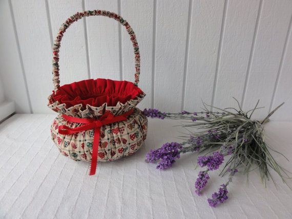 Vintage Country Chic Covered Basket W Ribbon Thick Padded