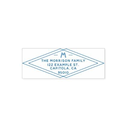 Custom Modern Geometric Family Name Return Address Self-inking Stamp - diy gifts cyo creative personalize