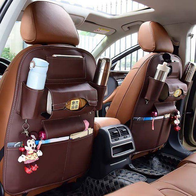 Car Back Seat Leather Storage Bag Car Seats Leather Organization Leather Seat
