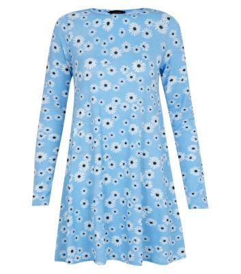Blue Daisy Print Long Sleeve Swing Dress