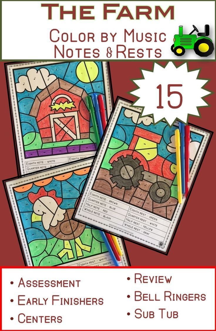Music Coloring Pages 15 FARM Themed Sheets