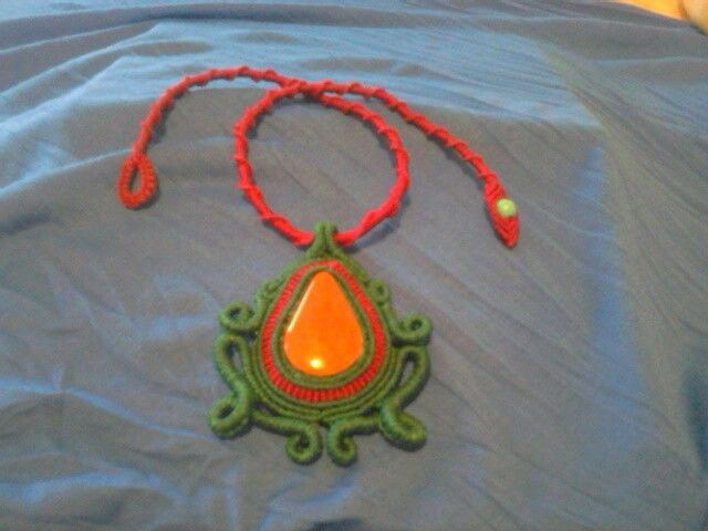 Macrame necklace with red Jasper stone