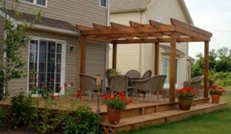 Partial pergola deck ideas pinterest the o 39 jays for Back patio porch designs