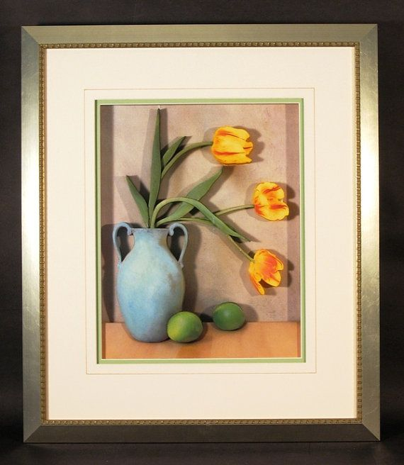 Yellow Tulips in Blue Vase with Limes Still Life by CiracoFramers