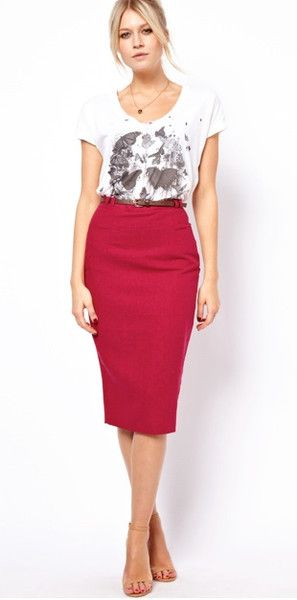 Linen Midi Pencil Skirt with tee