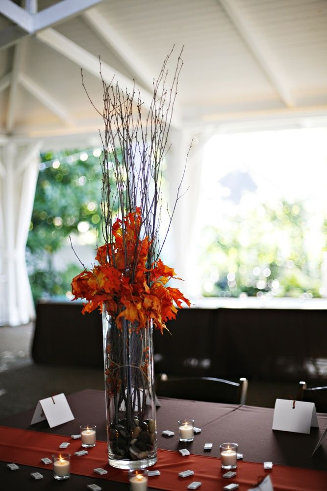 49 best fall weddings images on pinterest wedding photo for Twig centerpieces for weddings