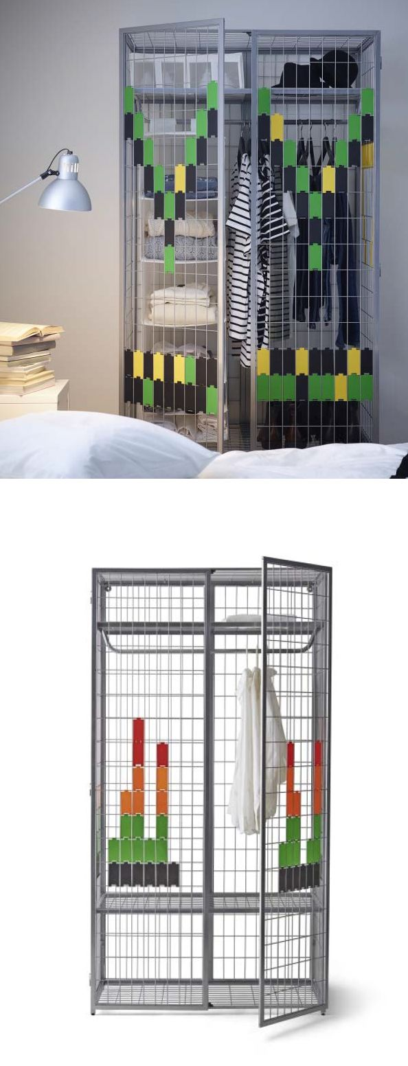 Ikea ps 2014 wardrobe you can easily create your own personal design by decorating the metal for Creation armoire ikea
