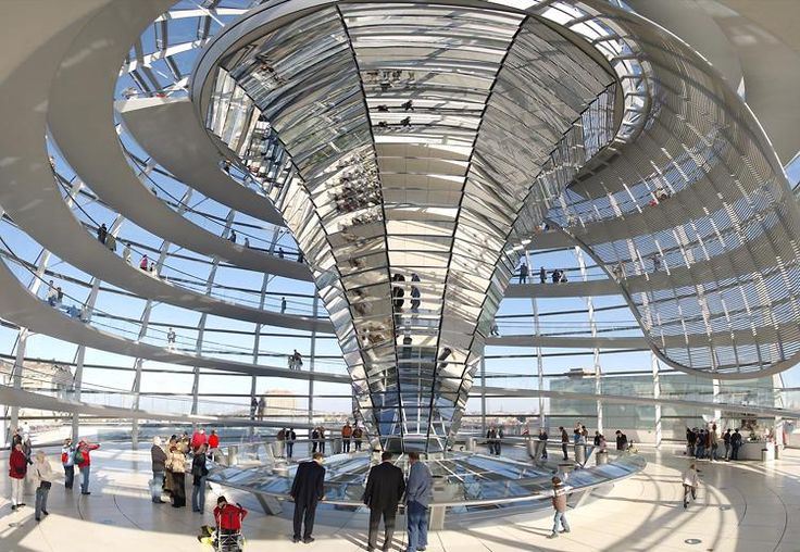 Reichstag Building ~ The roof terrace and dome of the Reichstag Building can be visited by the public, and offers spectacular views of the parliamentary and government district and Berlin's sights. Admission is free; advance registration required. #Berlin #ReichstagBuilding