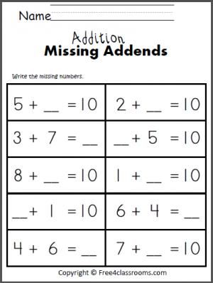 free addition worksheet write the missing addends to make 10 teach math worksheets. Black Bedroom Furniture Sets. Home Design Ideas