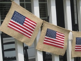 flags on burlap