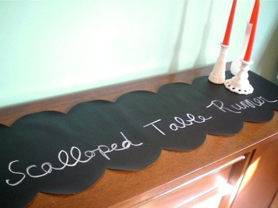 Chalk Cloth Table Runner with cut scalloped edge: Clothing Runners, Chalk Clothing, Chalkcloth Tables, Chalkboards Paintings, Chalkcloth Diy, Tables Runners, Great Ideas, Clothing Tables, Table Runners
