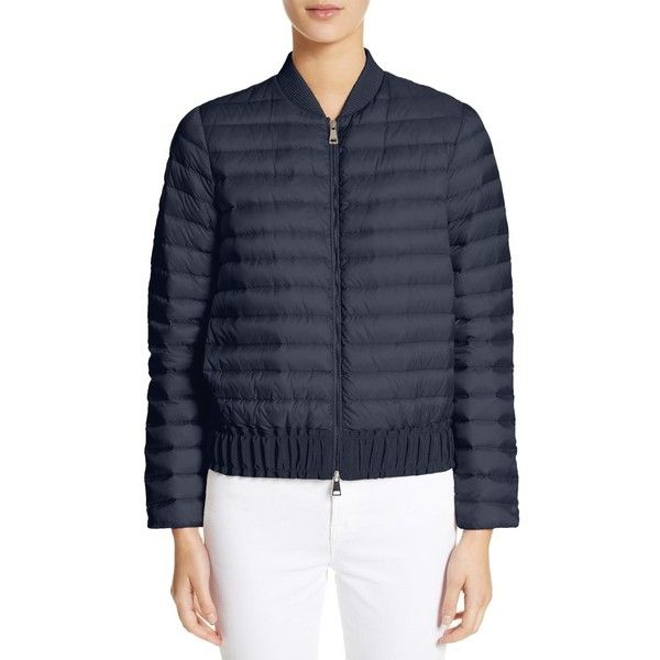 Women's Moncler Barytine Quilted Bomber Jacket (€730) ❤ liked on Polyvore featuring outerwear, jackets, navy, bomber jackets, navy blue jacket, navy blue quilted jackets, water resistant jacket and style bomber jacket