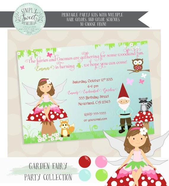 FAIRY INVITATION. Enchanted Forest Fairy & Gnome Birthday Party in pink, green and red. Jpeg or PDF file. Includes Hair Color of Choice