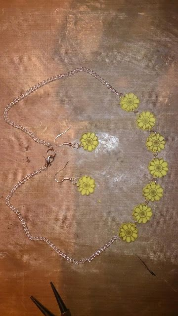 Earings and necklace made from shrink plastic