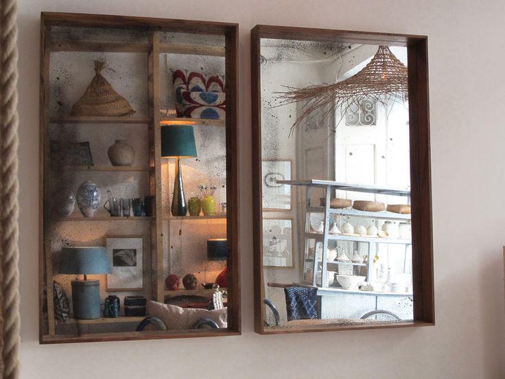 Walnut wood mirrors made by Felipe Lindberg