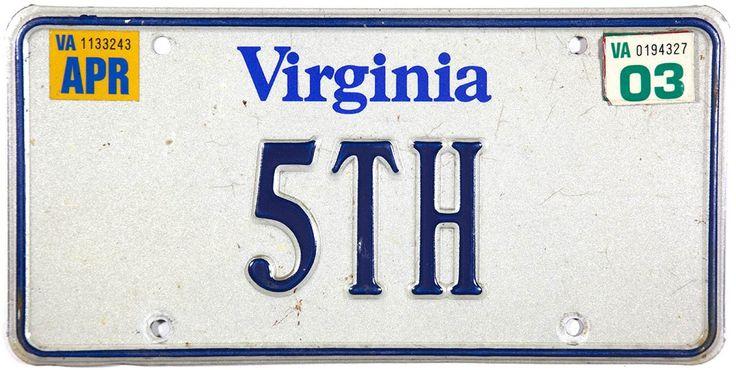 2003 Virginia License Plate DMV 5TH