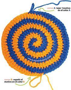 Cómo tejer el punto espiral en dos colores a crochet                                                                                                                                                      Más                                                                                                                                                     Más
