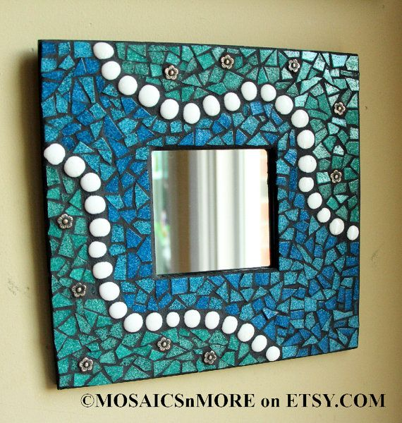 Blue / Green Mosaic Mirror - Fine Art Wall Hanging HANDMADE BY ME