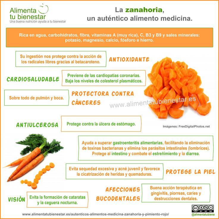 Propiedades terapéuticas de la zanahoria, un auténtico alimento medicina #infografia #alimentatubienestar
