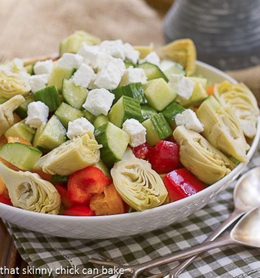 Greek Salad with Feta   thatskinnychickcanbake.com   #salad #Greeksalad #Feta