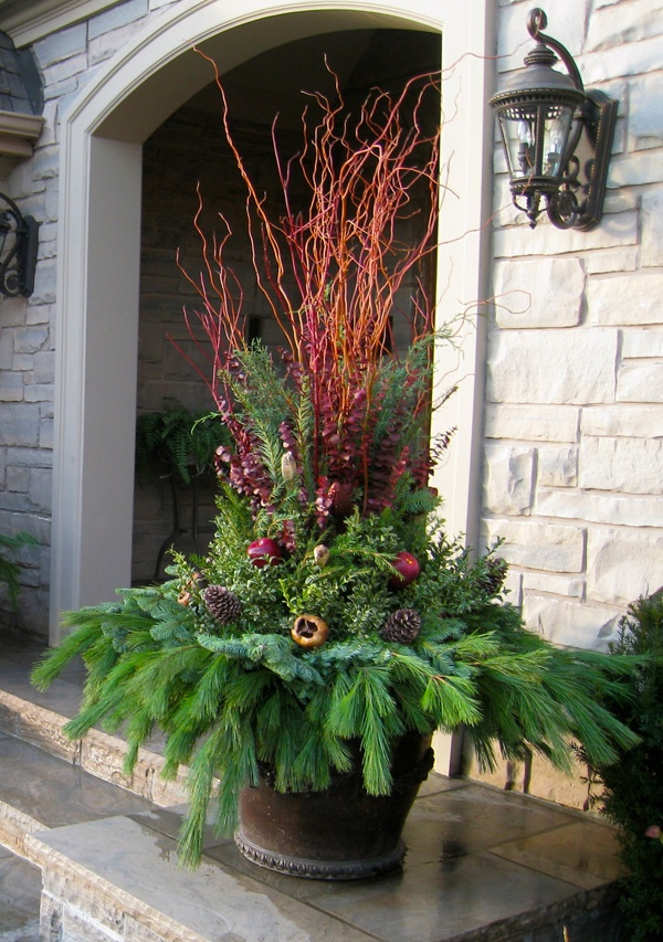 Pin by Arizona Pottery on Planters Winter Holiday  Pinterest ~ 032547_Holiday Decorating Ideas For Outdoor Planters
