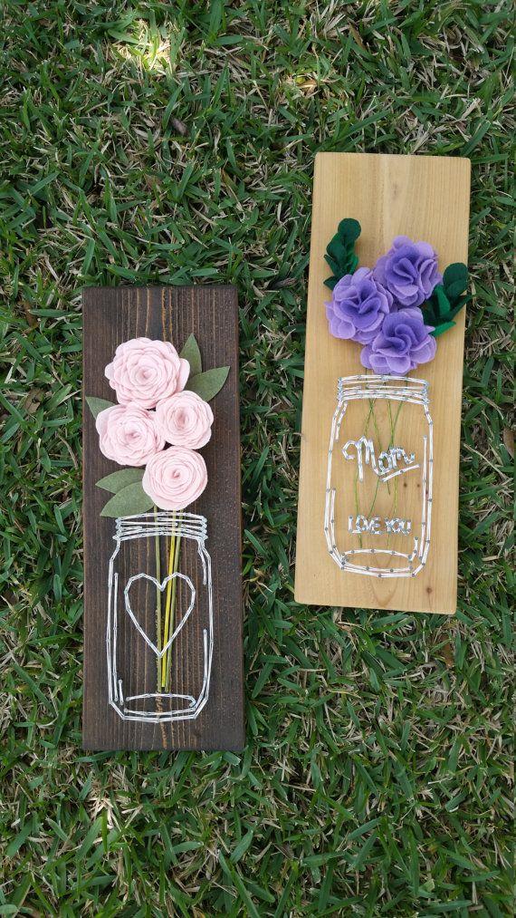 Flower-filled Mason Jar String Art от BugandBearOriginals на Etsy