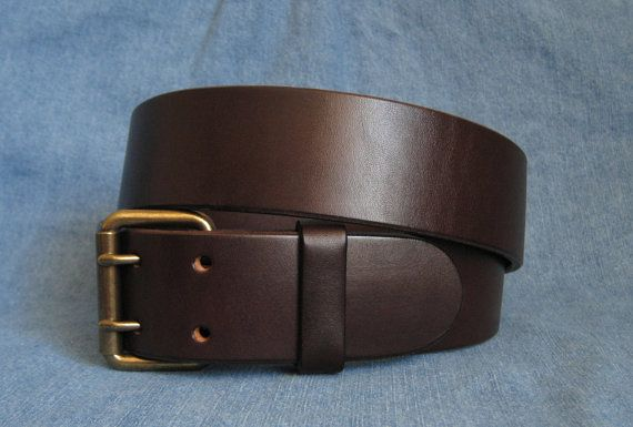 Brown Leather Belt 2 Prong Brass Buckle Heavy Duty Men S