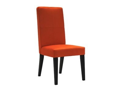 High back orange suede dining chair to brighten the home.