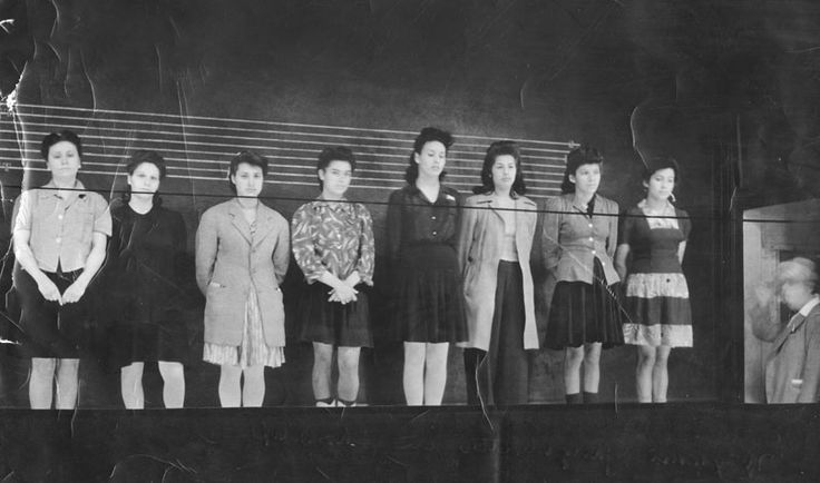 East Los Angeles female gang members in a police lineup, 1942.